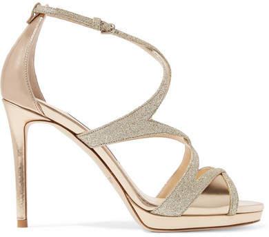 Jimmy Choo - Marianne 100 Glittered Leather Sandals - Gold