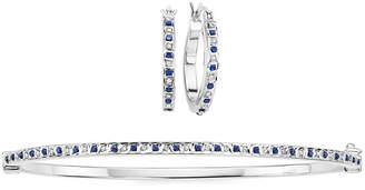 FINE JEWELRY 2-pc. Genuine Sapphire Diamond Accent Platinum Over Silver Earring & Bangle Set