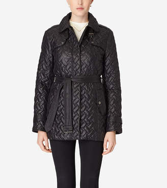 Cole Haan Single Breasted Quilted Trench Coat
