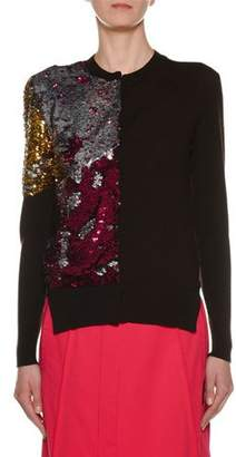 Marni Crewneck Long-Sleeve Sequin Wool Sweater