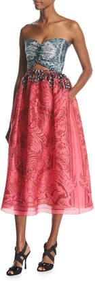 Mary Katrantzou Strapless Cutout Organza Midi Dress, Pink Pattern