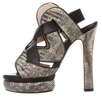 Chrissie Morris Audrey Snakeskin Sandals w/ Tags