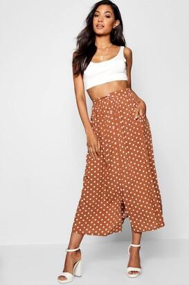 boohoo Polka Dot Button Through Midi Skirt