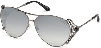 Roberto Cavalli Metal Aviator Sunglasses, Black