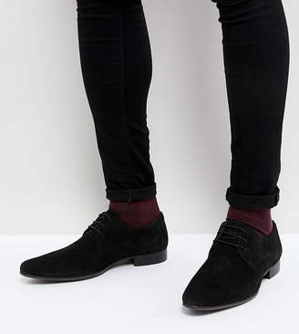 Asos Design Wide Fit Derby Shoes in Black Suede