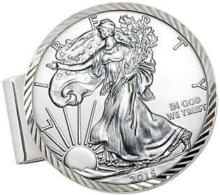 American Coin Treasures Sterling Eagle Dollar Money Clip