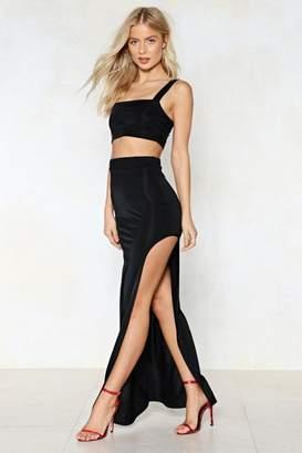 Nasty Gal Slit Tight Crop Top and Skirt Set