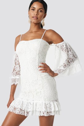 Trendyol Ruffle Bottom Lace Dress Ecru