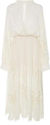 Oscar de la Renta Lace-Paneled Cotton-Voile Maxi Dress