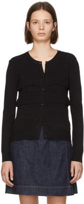 Carven Black Ruffled Cardigan