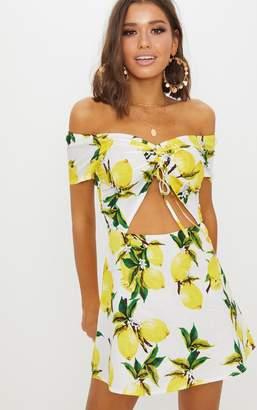 PrettyLittleThing Lemon Ruched Cut Out Bardot Shift Dress