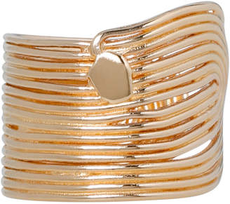 Gas Jeans GWAVE/O Wave Beaten Cuff Ring in Gold