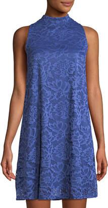 Neiman Marcus Mock-Neck Lace Dress