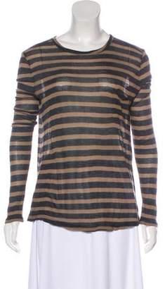 Alexander Wang Scoop-Neck Stripe Long Sleeve Top