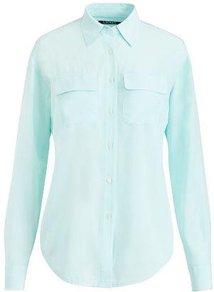 Ralph Lauren Lauren Silk Button-Down Shirt $155 thestylecure.com