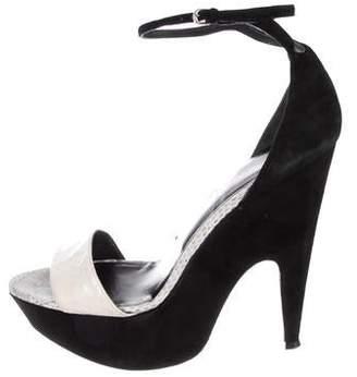 Narciso Rodriguez Snakeskin-Trimmed Platform Sandals