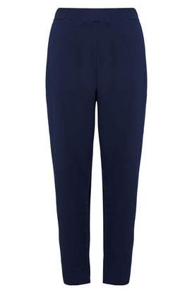 Quiz Curve Navy Crepe Tapered Trousers