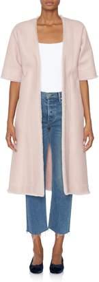 Rojas Alejandra Alonso Carmela Pink Reversible Shearling Wrap Coat