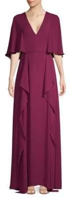 BCBGMAXAZRIA V-Neck Flounce Maxi Dress