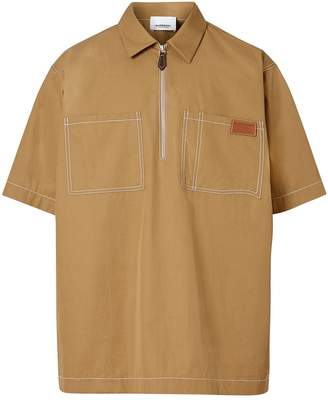 Burberry Short-sleeve Military Cotton Shirt