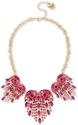 "Betsey Johnson Gold-Tone Crystal Heart Fringe Statement Necklace, 18"" + 3"" extender"