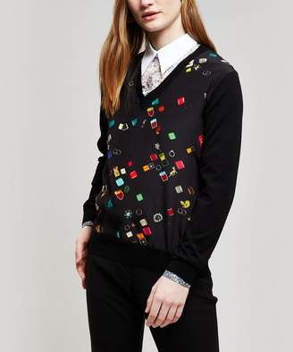 Paul Smith V-Neck Ring Boxes Print Wool Sweater