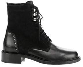 Aquatalia Women's Ali Suede& Leather Combat Boots - Black - Size 7