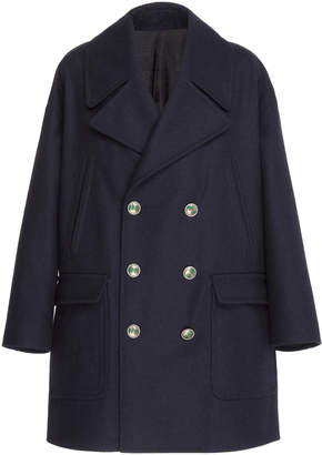 Givenchy Double Breasted Navy Wool Coat