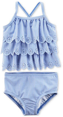 Carter's 2-Pc. Eyelet Ruffle Swimsuit, Baby Girls