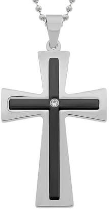 FINE JEWELRY Mens Cubic Zirconia Two-Tone Stainless Steel Double Layer Cross Pendant Necklace