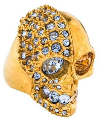 Alexander McQueen Crystal Two Faced Skull Ring