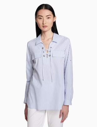 Calvin Klein solid lace-up v-neck top