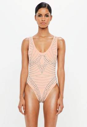 Missguided Nude Beaded Low Back Swimsuit