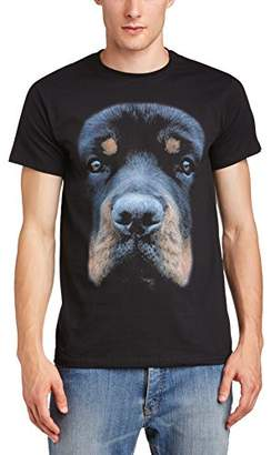 PRINTED WARDROBE Men's Big Face Animal Rottweiler Crew Neck Short Sleeve T-Shirt