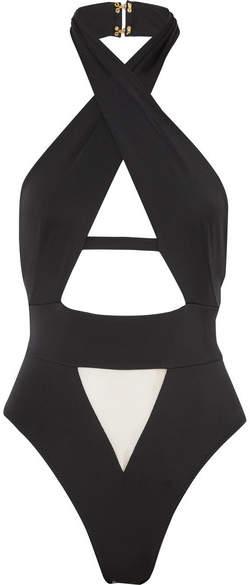 Anja Cutout Halterneck Swimsuit - Black