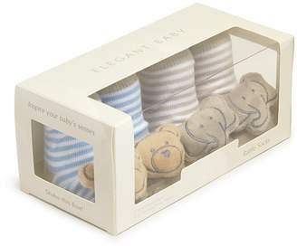 Elegant Baby Boys' Bear & Elephant Rattle Socks, Set of 2 - Baby