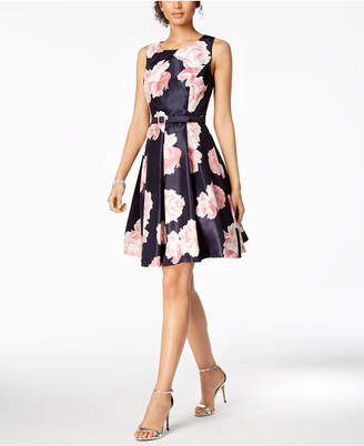 Jessica Howard Belted Floral-Print Fit & Flare Dress