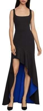 BCBGMAXAZRIA Asymmetric Flare Gown