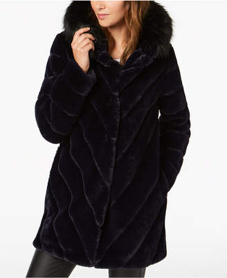 Calvin Klein Hooded Faux-Fur Coat