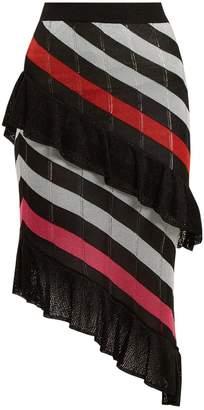 Asymmetric striped knit skirt