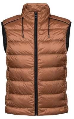 HUGO Boss Down-filled gilet in water-repellent fabric hood XXL Brown