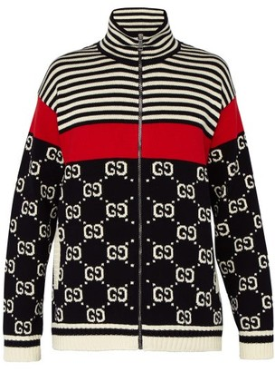 Gucci Gg Instarsia Knit Zip Cotton Cardigan - Mens - Navy Multi
