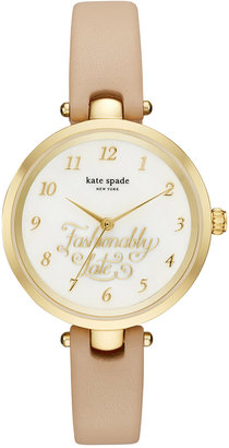kate spade new york Women's Holland Vachetta Leather Strap Watch 34mm KSW1220 $195 thestylecure.com