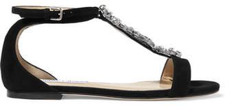 Jimmy Choo Averie Crystal-embellished Suede Sandals - Black