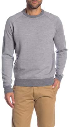 Peter Millar Leather Elbow Patch Wool Crew Neck Sweater