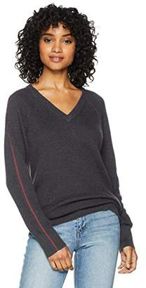 Cable Stitch Women's Contrast Piping V-Neck Sweater Top