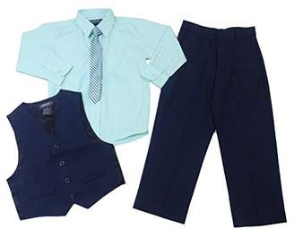 Kenneth Cole Reaction Boys 4-Piece Pants Suit Set, Navy/Mint