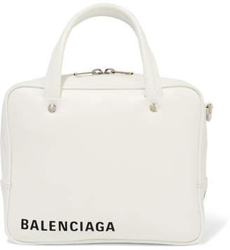 Balenciaga Triangle Square Xs Aj Printed Leather Shoulder Bag - White