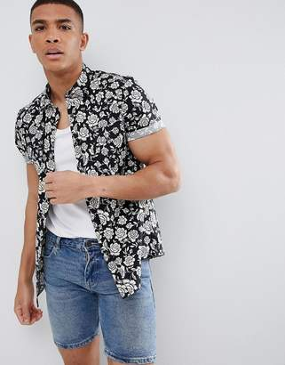 Asos DESIGN stretch slim western shirt with revere collar