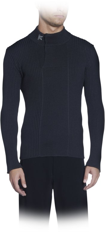 Ribbed Wool Mock Neck